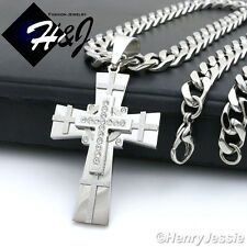 "20""MEN Stainless Steel 9x4mm Silver Cuban Curb Chain Necklace Cross Pendant*N7"
