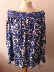 Next Plus Blue Off Shoulder Paisley Top Size 22 loose fitting