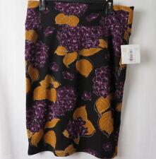 LuLaRoe Cassie Pencil Skirt Fold Waist Purple and Gold Floral  Print XL #6704