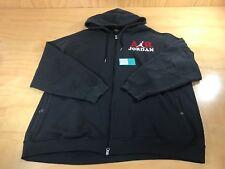 Air Jordan Embroidered Logo Full Zip Up Hooded Sweater Black White Size 3XL AJ