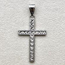 Beautiful Diamond Cut Cross Pendant in 14K White Gold 1.7 grams
