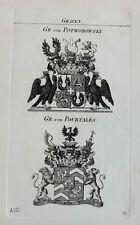 1828 Wappen von Potworowski Pourtales Kupferstich Tyroff