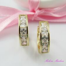 18k Gold GF Petite Huggie Hoop Earrings with Clear Chanel Set Cubic Zirconia