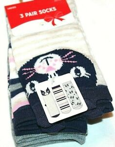 Christmas Holiday Cat/Kitty Striped Stocking Stuffer 3 Pk Women's Socks Sz 4-10
