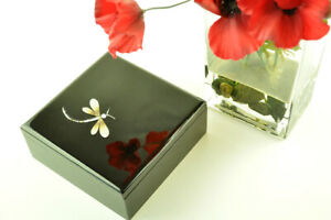 Decorative Handmade Lacquered Inlaid Wooden Square Box, Black Large H021L