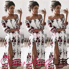UK Women Off One Shoulder Print Boho Long Maxi Ladies Summer Beach Sun Dress