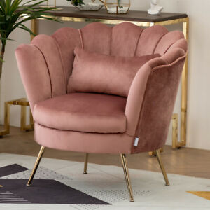 Chesterfield Sofa Velvet Scallop Back Armchair Lotus Seat Chair Couch Metal Legs