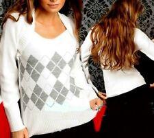 SeXy Miss Damen Bolero Look Pullover Karo Pulli 34/36/38 weiß silber lurex NEU