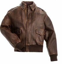 Mens Aviator A-2 Flight Jacket Real Brown Distressed Leather Bomber Jacket