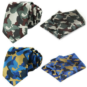 Men's Classic Blue Green Camouflage Necktie Tie Pocket Square Handkerchief Set