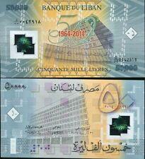 LEBANON 50,000 50000 LIVRES 2014 P 97 BDL 50 YEARS COMM. POLYMER UNC