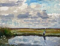 Karl Adser 1912-1995 Oil Heron At Waters On Romsø Insel Baltic Sea Denmark