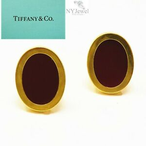 NYJEWEL Tiffany & Co 18K Yellow Gold Red Agate Heavy Cufflinks