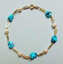 Goldarmband 585er Gelbgold 14K mit Türkissteinen/Perlen Türkisarmband, Bracelet