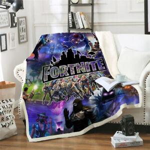 Fortnite Gamers Thick Blanket Throw Sofa Soft Warm Faux Fur Fleece HD Print New