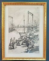 """William Mark Young Signed Etching Framed """"First Draw Bridge Over Chicago River"""""""