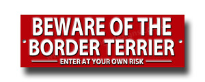 BEWARE OF THE BORDER TERRIER  ENTER AT YOUR OWN RISK METAL SIGN.SECURITY.