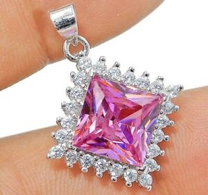 4CT Pink Sapphire & Topaz 925 Solid Genuine Sterling Silver Pendant Jewelry