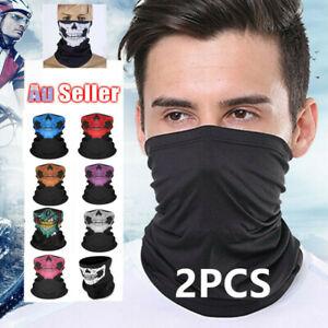 2PCS Bandana Head Scarf Face Mask Neck Tube Cycling Motorcycle Fishing Outdoor