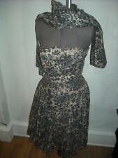 Vtg 50 60 Womens M Fredrica Hollywood Floral Print Party Cocktail Dress Scarf