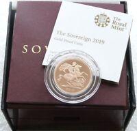 2019 British Royal Mint Gold Proof Full Sovereign Coin Box Coa