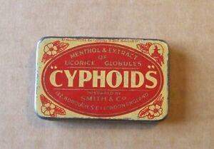 BOITE ANCIENNE ANGLAISE de CYPHOIDS  en TOLE LITHOGRAPHIEE bon état