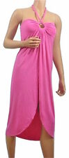 BCBG MAX AZRIA WOMENS HALTER BIKINI COVER-UP DRESS XL PINK MID-CALF LONG BEACH