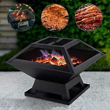 BBQ Grill Square Fire Pit Outdoor Garden Patio Heater Stove Brazier Barbecue
