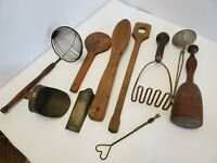 Lot of 10 Antique primitive Kitchen utensils wood metal mashers strainers grater