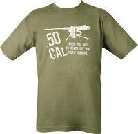 Military 50 CAL CALIBER T Shirt Olive Green SAS PARA