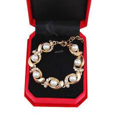 Fashion WHITE PEARL Wedding Rhinestone 18K Gold Plated Bracelet Adjustable