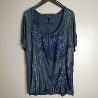 Long Tall Sally Size LX UK 22 Blue loose fit sequin T shirt