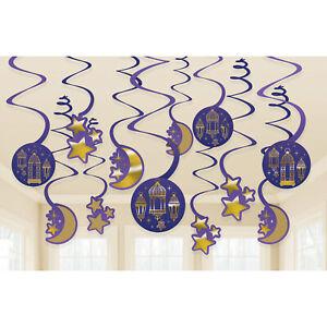 EID Mubarak Ramadan Kareem Party Hanging Swirls Moon Stars Decoration Events