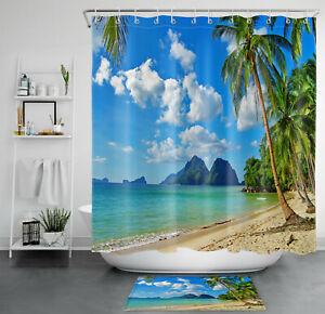 Tropical Blue Sky White Cloud Beach Landscape  Shower Curtain Set Bathroom Decor