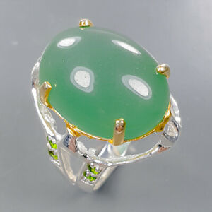 Jewelry Handmade Chrysoprase Ring Silver 925 Sterling  Size 8.5 /R176678