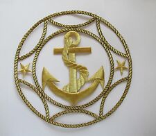 """#2367 7-1/4"""" Gold Marine Anchor,Star,Rope,Nautical Embroidery Applique Patch"""