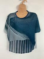 WOMENS ZARA BLUE/GREY SHORT SLEEVED CREW NECK  CROPPED T SHIRT SIZE EURO SMALL
