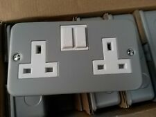 one x metal clad Double switched socket 13amp Top Quality by GET UK