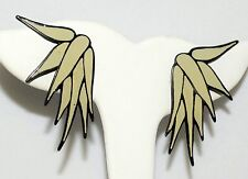Vintage 80s Lawrence Bott Pale Yellow Enamel Long Artistic Leaves Clip Earrings