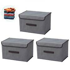 3er Set Aufbewahrungsbox Spielkiste mit Deckel Regalkorb Faltkiste 38x 24 x24 cm