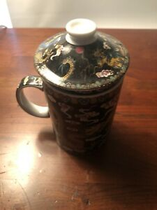 NEW Black Dragon Ceramic Porcelain Tea Cups Coffee Mug with Infuser& Lid