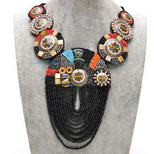 NEW Mystic Black Fabric Ceramic Cluster Resin Beads Pendant Statement Necklace