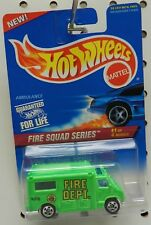 GREEN CHEVY FORD AMBULANCE 5 SPOKE DODGE BOYS 424 FIRE SQUAD SERIES HOT WHEELS