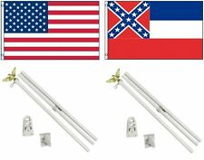 3x5 Usa American & State of Mississippi Flag & 2 White Pole Kit Sets 3'x5'