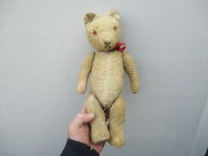 A Small Antique Straw Filled Teddy Bear c1930/50s