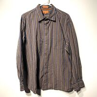 faconnable jeans mens long sleeve collared button down striped shirt size XL