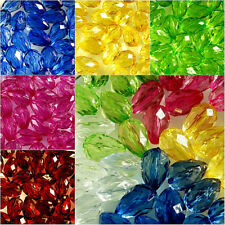 100 x TEARDROP~FACETED~TRANSPARENT~ACRYLIC BEADS~CHOOSE COLOUR , 14 x 9 MM