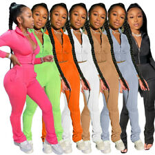New Stylish Women Long Sleeves Zipper Solid Patchwork Bodycon Jumpsuit 2pcs