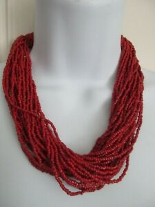 CORAL MULTI-STRAND SEED BEAD NECKLACE