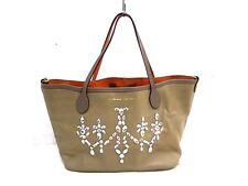 Auth Accessoires De Mademoiselle(ADMJ) Light Brown*Brown Leather Tote Bag